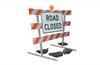 Road Block with Road Closed Sign