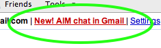 New! AIM chat in Gmail